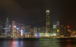 HONG KONG : NOV 3, 2015 : Hong Kong Victoria Harbor at night Royalty Free Stock Photos