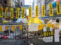 HONG KONG,NOV. 22: Roadblock is set up to prevent police to cond Royalty Free Stock Image