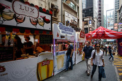 HONG KONG - NOVEMBER 26 2013: The busy LKF (Lan Kwai Fong Festiv Stock Photo