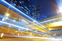 Hong kong nowożytnego miasta prędkości Wysoki ruch drogowy zdjęcia royalty free