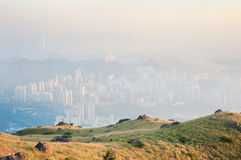 Hong Kong obscured by air pollution Royalty Free Stock Photos