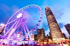 Hong Kong Observation Wheel bij Nacht Stock Afbeelding