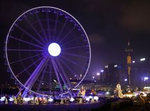 Hong Kong Observation Wheel and Christmas Carnival stock image