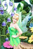 Disneyland Character Mascots of a fairy Tinker Bell. Hong Kong - Oct 5, 2016 : Portrait shot of a girl dressed up in Halloween costume as a fairy Tinker Bell Royalty Free Stock Images