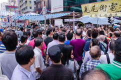 HONG KONG, OCT 15: protesters stand listening to speech in Mongk Royalty Free Stock Photo