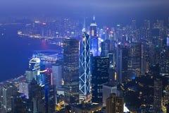 Hong Kong office buildings at night Stock Images