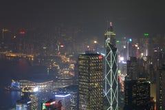 Hong Kong, 2015 am 15. Oktober Hong Kong-Skylinestadt Lizenzfreies Stockfoto