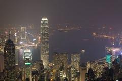 Hong Kong, 2015 am 15. Oktober Hong Kong-Skylinestadt Lizenzfreie Stockfotos