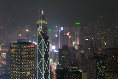 Hong Kong, 2015 am 15. Oktober Hong Kong-Skylinestadt Stockfotografie