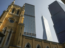 Oldest church and skyscrappers - Hong Kong Stock Images