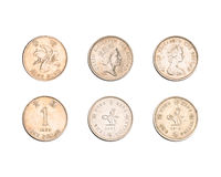 Hong Kong one dollar coins collection Royalty Free Stock Photo
