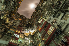 Hong Kong overcrowded flats. Hong Kong is the city where there is huge skycraper, but there is place where people live stuck Royalty Free Stock Photos