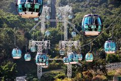 Hong Kong: Ozean-Park-Drahtseilbahnen Stockfotos