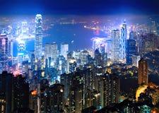 Hong Kong på natten 库存图片