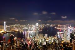 Hong Kong på natten Royaltyfri Bild