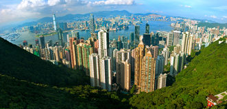 Hong Kong Panorama. Fish-eye Panorama of Hong Kong royalty free stock photography