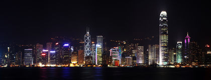 Hong Kong panorama Fotografering för Bildbyråer