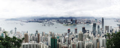 Hong Kong Panorama. The Panorama of the Victoria Harbour of Hong Kong from the Peak Stock Photo