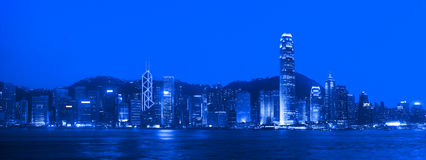 Hong Kong Panorama at Night Royalty Free Stock Image