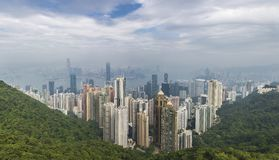 Hong Kong-panorama van de piek van Victoria Stock Foto
