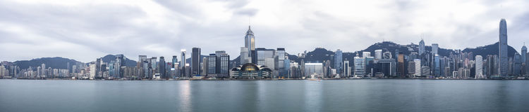 Hong Kong. Panorama view of Hong Kong skyline in the morning over Victoria Harbour Stock Photos