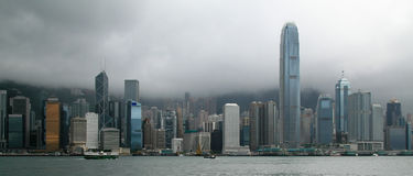 Hong Kong panoramahorisont Royaltyfri Foto