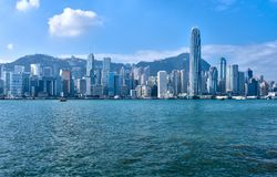 Hong Kong. A panoramic view of the Hong Kong Island skyline at daytime royalty free stock images
