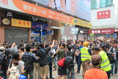 Hong Kong-paraplurevolutie in Mong Kok Royalty-vrije Stock Fotografie