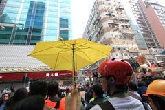 Hong Kong-paraplurevolutie in Mong Kok Stock Afbeelding