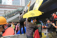 Hong Kong-paraplurevolutie in Mong Kok Royalty-vrije Stock Foto