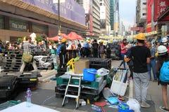 Hong Kong-paraplurevolutie in Mong Kok Royalty-vrije Stock Foto's