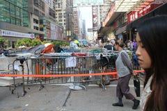 Hong Kong paraplyrevolution i Mong Kok Royaltyfria Bilder