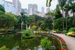 Hong Kong Park. Artificial pond against the skyscrapers background in Hong Kong Park Stock Photo
