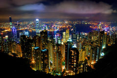 Hong Kong Peak Tram. The Peak Tram Night View from Hong Kong Stock Photos