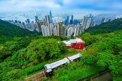 Hong Kong peak tram. The Peak Tram and Hong Kong Viewpoint Stock Image