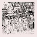 Hong Kong, people in a street vector illustration