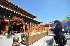 Hong Kong people visit the Wong Tai Sin Buddhist Temple to pray Stock Photos
