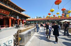 Hong Kong people visit the Wong Tai Sin Buddhist Temple to pray Stock Images