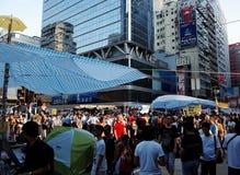 Hong Kong person som protesterardödläge 2014 Royaltyfri Bild