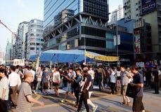 Hong Kong person som protesterardödläge 2014 Royaltyfri Foto