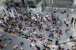 Hong Kong person som protesterardödläge 2014 Arkivbild