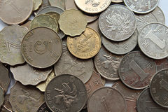 Hong Kong pieniądze dolar i chińczyka Juan monety Zdjęcie Royalty Free