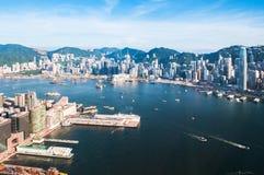 Hong Kong pir och cityscape arkivfoton