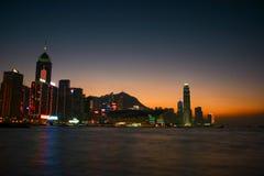 Hong Kong platssolnedgång royaltyfria foton