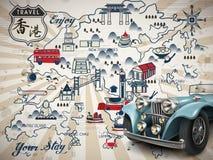 Hong Kong podróży mapa ilustracji
