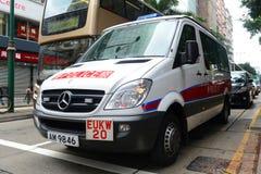Hong Kong-Polizeifahrzeug im Dienst Lizenzfreie Stockfotos