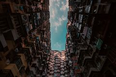 Hong kong ,popular district. Typical popular district in Hong Kong Here is crowed everywhere, and a city never sleep in 24 hours royalty free stock images