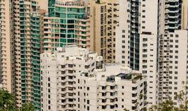 Hong Kong, Porcelanowa linii horyzontu panorama z naprzeciw Wiktoria szczytu fotografia stock