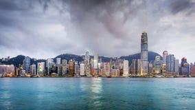 Hong Kong, Porcelanowa miasto linia horyzontu Obrazy Stock