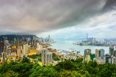 Hong Kong, Porcelanowa miasto linia horyzontu Obraz Stock